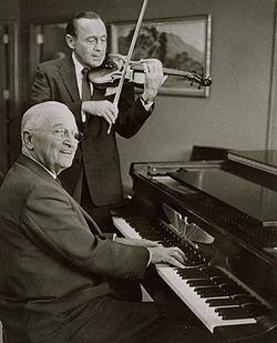 (Former) President Harry S Truman and entertainer Jack Benny make music together on   September 3, 1959.