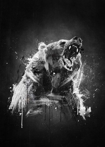 bear cool painting wildlife angry fan black white brush Animals