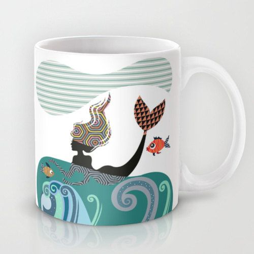 Mermaid Mug, Fish Mug, Mermaid Girl, Ceramic Mug Mermaid, Marine Life, Unique Coffee Mug, Mermaid Gift, Drinking Mug, Cool Coffee Mug