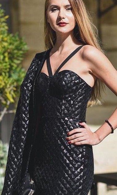 CRISTALLINI #BlackDress #Sequins #CocktailDress