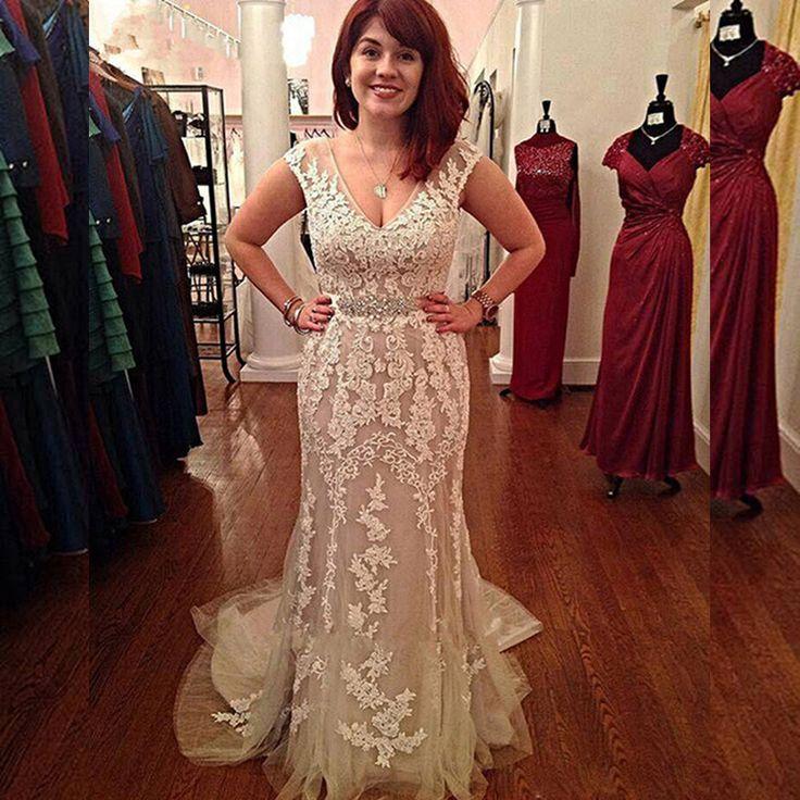 Romantic 2016 New Sexy Summer Cap Sleeve V-neck White Lace Tulle Mermaid Prom Dresses Long Evening Party Dress vestido de festa