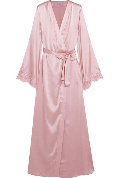 I.D. Sarrieri - Tendresse Chantilly Lace-trimmed Silk-blend Satin Robe - Pastel pink - x small