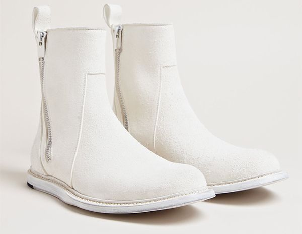 Rick Owens' White Brushed Leather Boots | Think CONTRA