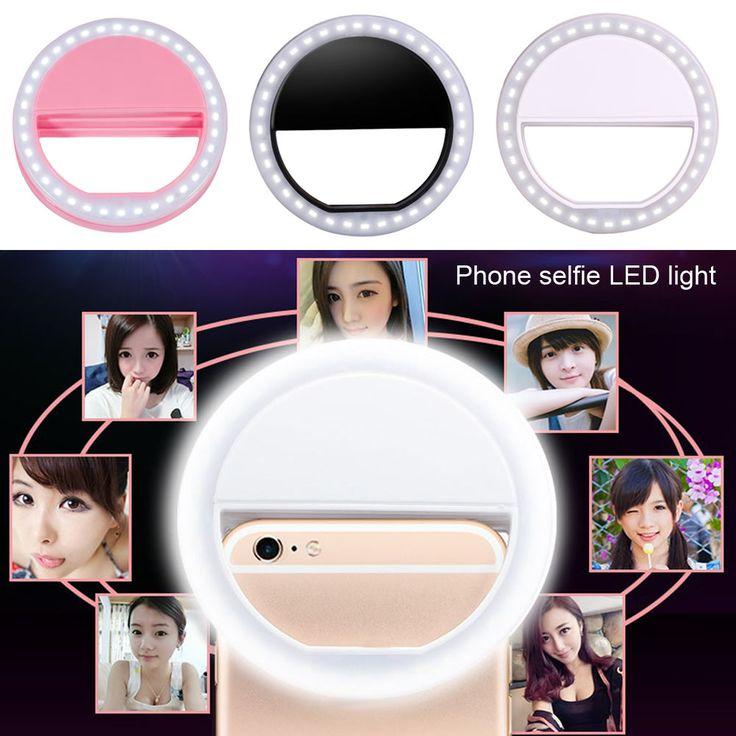 Hot Universal Portable Smart Mobile Phone Selfie LED Ring Flash Light Beauty Makeup Clip Camera Photography Luminous