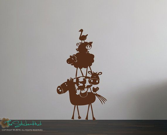 Farm Animal Stack Horse Cow Pig Sheep Duck by thestickerhut, $21.99