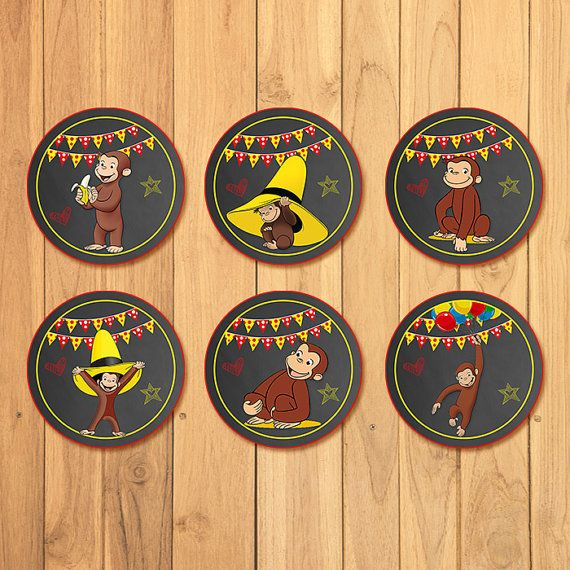 Its a Curious George Party!    Thank you for stopping by my store! I have for you here a set of 6 Curious George cupcake toppers - this item