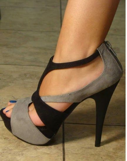 Black and grey w/cutouts. High heel sandal.