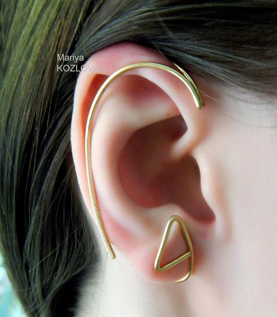 Ear Wrap Fake Conch Piercing Boho 14k Yellow Gold Filled Double