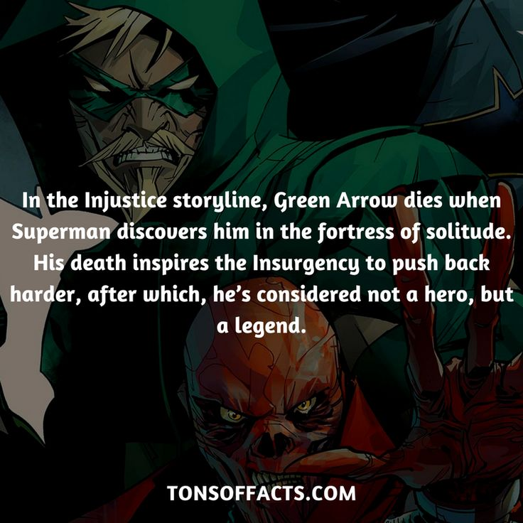 In the Injustice storyline, Green Arrow dies when Superman discovers him in the fortress of solitude. His death inspires the Insurgency to push back harder, after which, he's considered not a hero, but a legend. #greenarrow #tvshow #justiceleague #comics #dccomics #interesting #fact #facts #trivia #superheroes #memes #1 #movies #oliverqueen