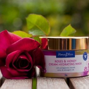 Roses & Honey Cream Hydrating Mask. 50 gm jar. Was $44 NOW $30 till 31/3 or while stocks last. With pomegranate, raspberry & blackcurrant  seed, avocado, carrot & wheatgerm oils.  Nourishing and intensely hydrating, this mask is full of beta-carotene and Vitamin E, to help regenerate and repair dry and dehydrated skin. Leave on for at least 20 minutes or overnight to boost hydration.