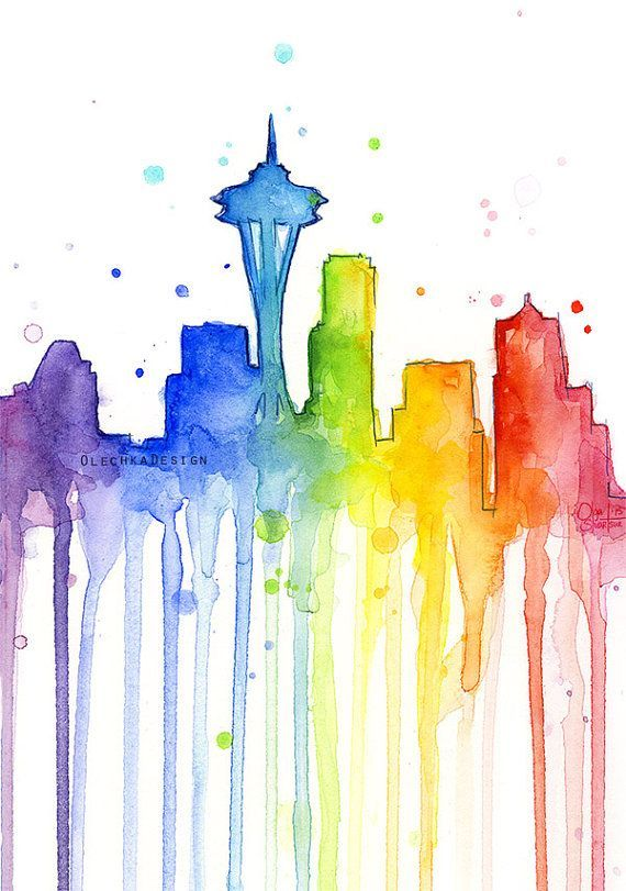 Seattle Wall Art Seattle Rainbow Seattle Watercolor Rainbow