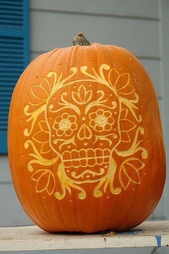 Día de los Muertos Jack-o-lantern! Would do it on a carve-able pumpkin and cut all the way through.