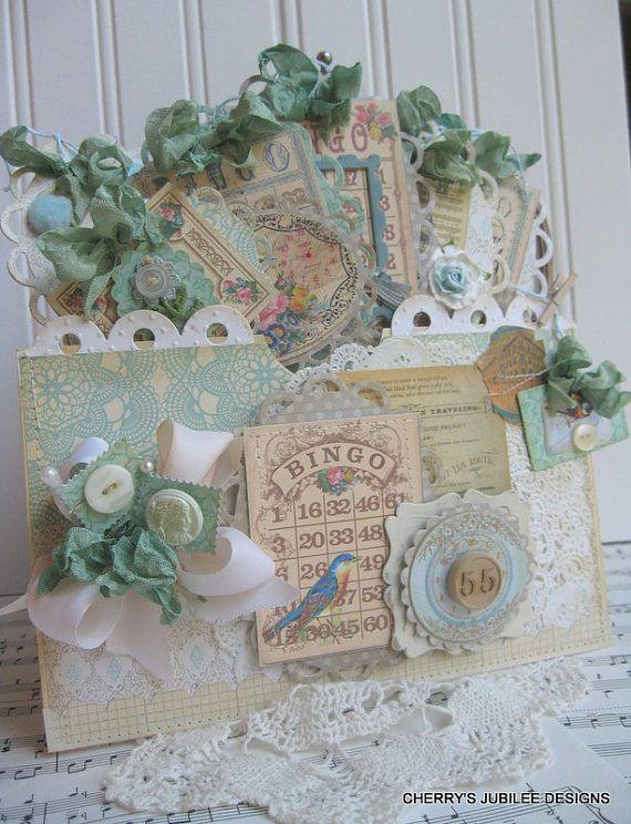 shabby chic whimsical BIRD bingo card POCKET full of tags decoration treat bag gift