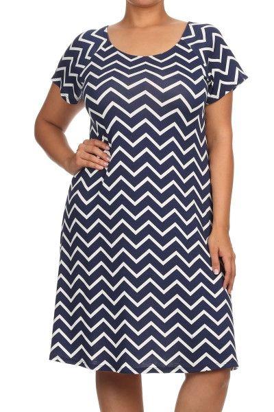 Picnic Chevron Dress - Plus Size