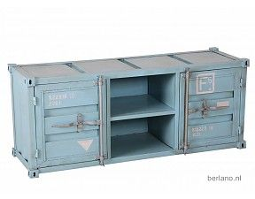 Kast met container look - TV kast zeecontainer T08 Blauw