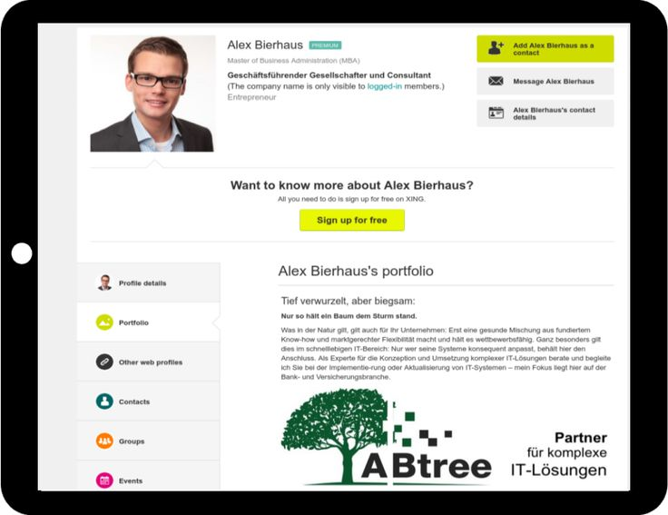#XING Profil Portfolio Beispiel ABtree GmbH Düsseldorf http://www.networkfinder.cc/xing-linkedin-facebook-profiles/