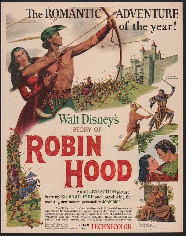 1952 ROBIN HOOD Theater Movie Release - Richard Todd - WALT DISNEY VINTAGE AD