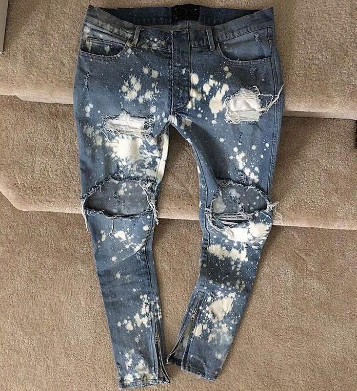 2017 Новый kpop тощий ripped корейской хип хоп мода брюки прохладный мужская городская одежда комбинезон мужские джинсы Джастин Бибер slpкупить в магазине WJG Hiphop storeнаAliExpress