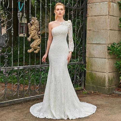 Dressv ivory long wedding dress one shoulder long sleeves mermaid bridal gown elegant outdoor&church trumpet wedding dresses