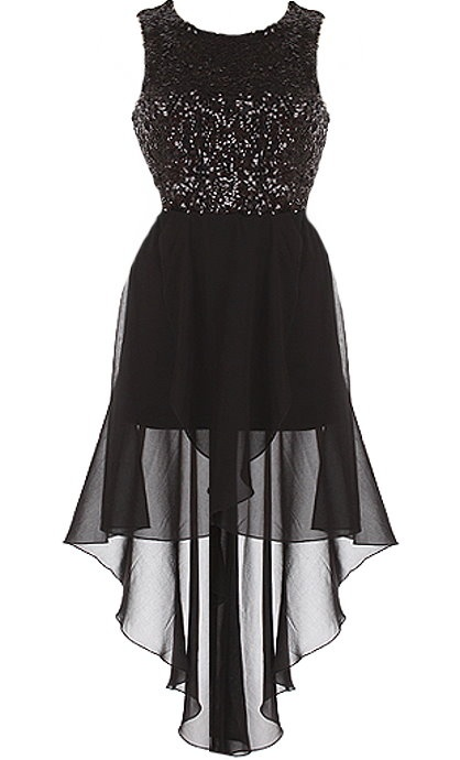 Meteor Shower Dress: Features a glittering galaxy of sequins covering a noir bodice, beautiful rear oval cutout for subtle exposure, crossover black chiffon skirt, and a flattering high-low hem to finish.