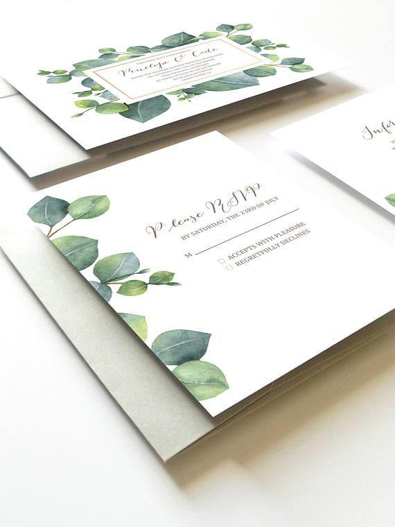Eukalyptus Hochzeits Einladung Botanische Hochzeits Einladung