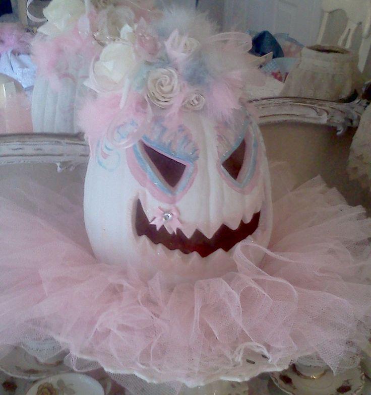 Olivia's Romantic Home: Shabby Chic Halloween Pink Pumpkin