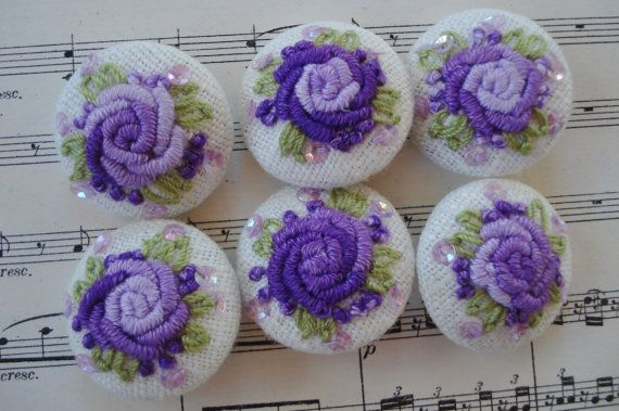 6 Ombre Lavender Purple Handmade Embroidered MOP Buttons Vintage Doll Dress Purse Collage Sewing Dress Trim Handbag Purse