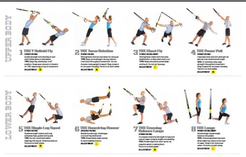 Printable TRX Workout | This TRX All Body Advanced Strength Poster has all the visual aid and ...