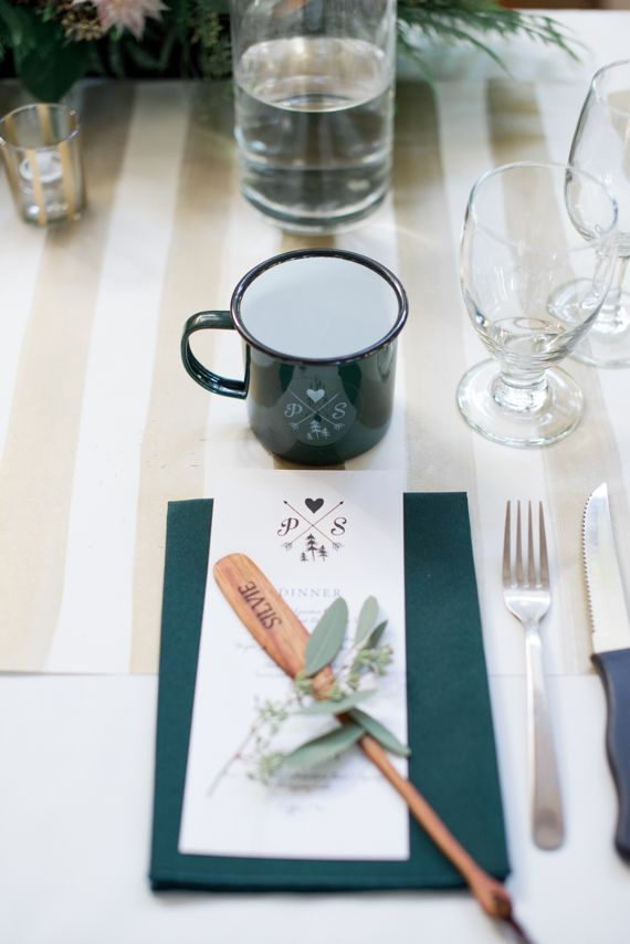 Love the idea of a camping themed wedding. camp cup favors   Emerald and gold camp-themed wedding   Photo by Christie Graham   Read more - http://www.100layercake.com/blog/?p=81274