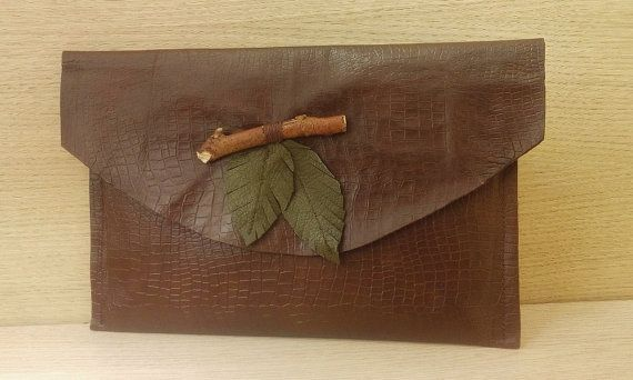 Brown Leaf & Twig Leather Clutch Bag, Nature Inspired Embossed Leather Clutch Bag, Eco Themed Leather Clutch Bag, Tree Hugger Leather Clutch