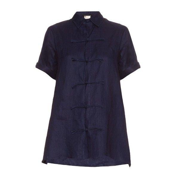 Yohji Yamamoto Regulation Short Sleeved Linen Top ($334) ❤ liked on Polyvore featuring tops, blue short sleeve top, linen tops, short sleeve tops and blue top