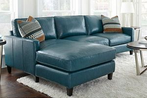 Andersen Top Grain Leather Chaise Sectional - Dark Turquoise
