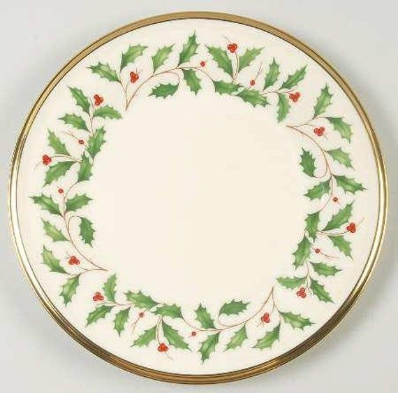 Lenox Holiday Dimension 8in Salad Plate Cream With Gold Trim Etsy Christmas Dinnerware Christmas China Christmas Dinner Plates