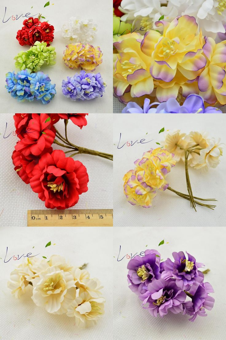 [Visit to Buy] 6pcs / lot 4.5 cm silk flower flor Del Ciruelo Scrapbooking DIY de flores Artificiales de seda decoracion de la boda flores mat #Advertisement