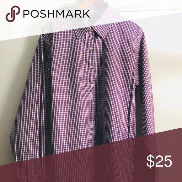 LAND'S END Women's No Iron Pin Point Oxford Shirt LAND'S END Women's PLUS No Iron Pin Point Long Sleeve Oxford Shirt; purple and white  check pattern Lands' End Tops Button Down Shirts