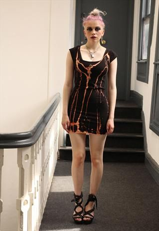 Black gold drips tie dye alternative punk grunge dress from Pretty Disturbia £12