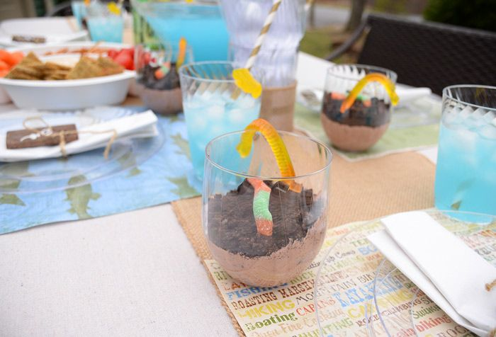Fun punch and worms in dirt ideas for a backyard fish fry party!