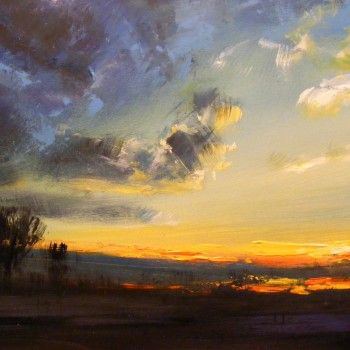 """Sunset"" by Ivan Grozdanovski. A beautiful original impressionist painting from Ivan's collection.  View more stunning paintings from Ivan's collection on FineArtSeen l The Home Of Original Art. >> Pin For Later <<"