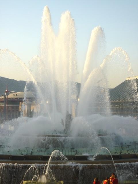 The magic fountains! At night, it lights up Plaza Espana.