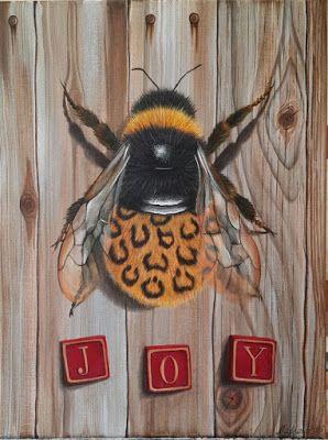 """""""Joy"""" (""""Happy entomologist""""), acrylic on canvas 30 х 40 см - fine art for SALE. """"Joy"""" (серия """"Счастливый энтомолог""""), акрил на холсте 30 х 40 см.  #Шмель, #рисование акрилом, #bee, #acrylic on canvas, #painting, #bumblebee"""
