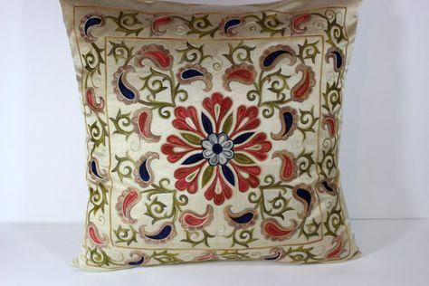 Silk Suzani Pillow cover Suzani Pillow Bohemian by HandMadeSuzanis