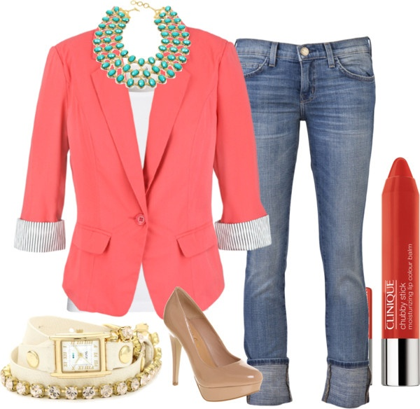 """Casual Coral Blazer"" by sadieclorinda on Polyvore"