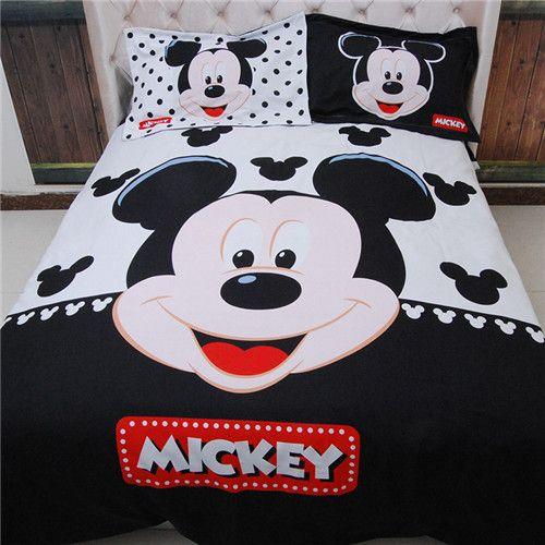 3D Cartoon Mickey Minnie Mouse Bedding Set Queen Size 100% Cotton