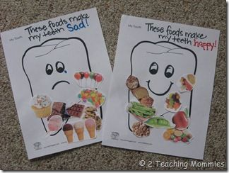Happy tooth, Sad tooth collage.  Great for Dental Health Month in February, as part of a Healthy Me theme.