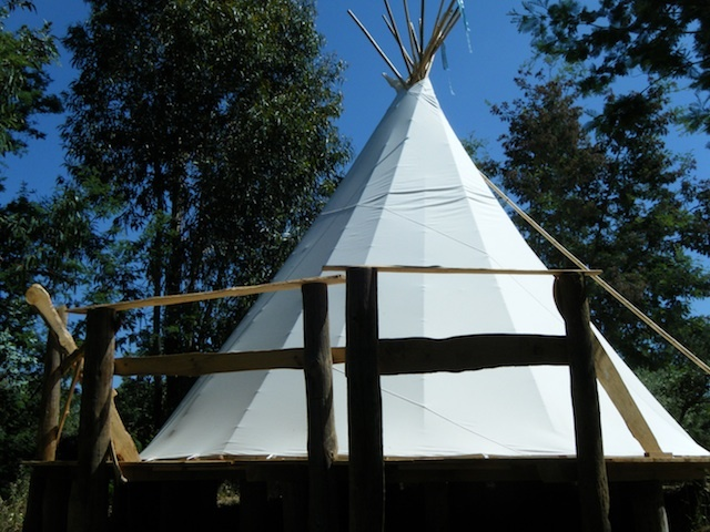 Our tipis are on raised wooden platforms with stunning views
