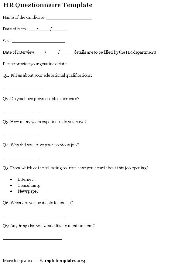 12 best Sample Questionnaires images on Pinterest Sample resume