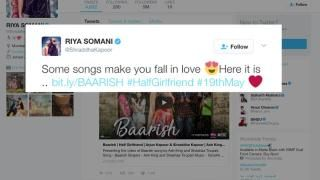 """Baarish"" song from upcoming film "" #HalfGirlfriend"" 👫  started by #ShraddhaKapoor #ArjunKapoor 😍😍  Sharing this romantic track on twitter Shraddha wrote 👫  Novel by #ChetanBhagat Directed by #MohitSuri  Produced by #EktaKapoor It is the first film Bhagat will produce. The film to be released in 19 May, 2017"