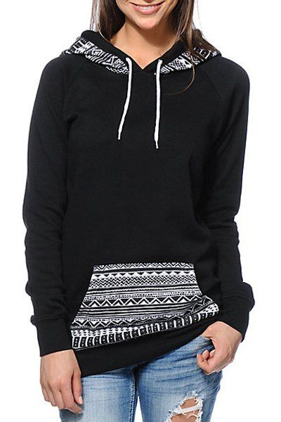 Chic Hooded Long Sleeve Geometric Print Hoodie For Women