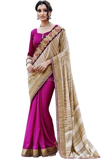 Beautiful looking half saree online cute combination of pink and beige  #Indianfashion #partystyle #fashionstyle #newlook #newdesigns #halfsareestyle #goodloooking #embroidered