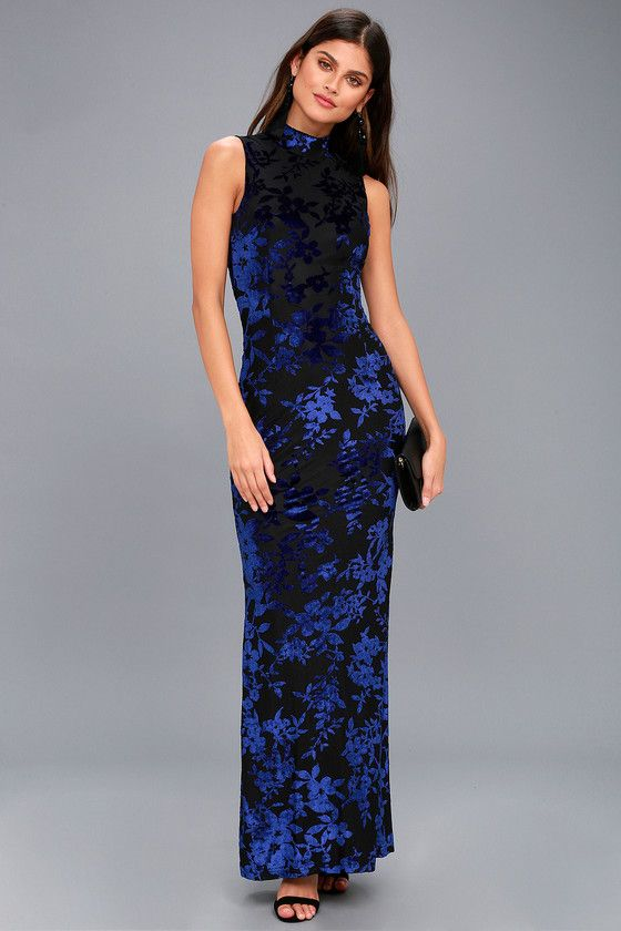 c54e71c0d78b Dariana Black and Blue Velvet Floral Print Backless Maxi Dress ...